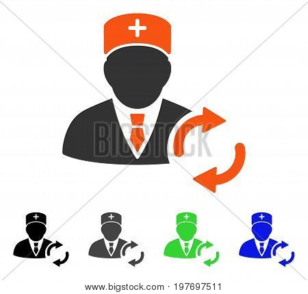 Refresh Doctor flat vector pictograph. Colored refresh doctor gray, black, blue, green pictogram versions. Flat icon style for application design.