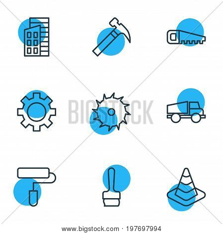 Editable Pack Of Handle Hit, Apartment, Hacksaw Elements.  Vector Illustration Of 9 Structure Icons.