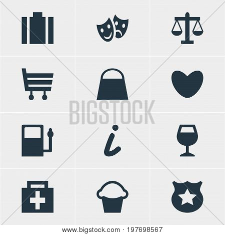 Editable Pack Of Map Information, Cop , Handbag Elements.  Vector Illustration Of 12 Check-In Icons.