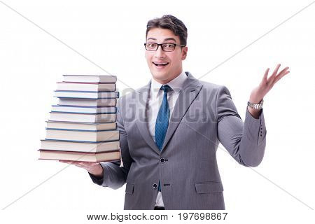 Businessman student carrying holding pile of books isolated on w
