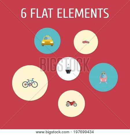 Flat Icons Streetcar, Luxury Auto, Boat And Other Vector Elements