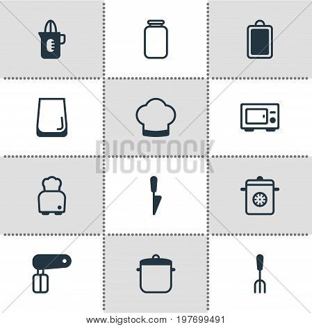 Editable Pack Of Bread, Fork, Chopping Desk And Other Elements.  Vector Illustration Of 12 Restaurant Icons.