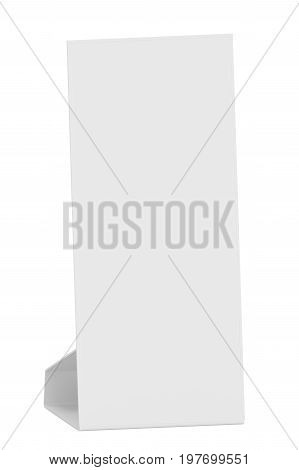 Blank paper table card on white background. Template mock-up ready for design. 3D Illustration