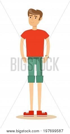 handsome man in shorts. Isolated over white background. Stock vector illustration for poster, greeting card, website, ad, presentation, advertisement design.
