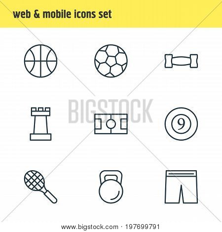 Editable Pack Of Football, Weight, Hoop And Other Elements.  Vector Illustration Of 9 Athletic Icons.