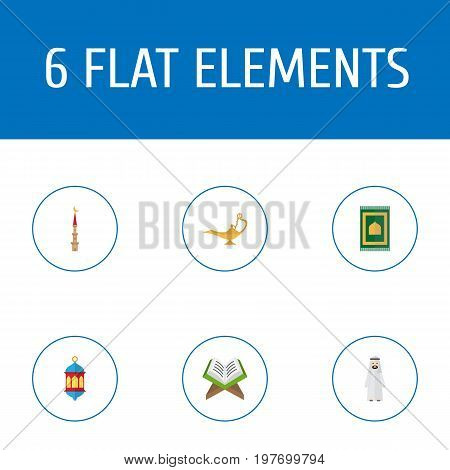 Flat Icons Prayer Carpet, Arabian, Islamic Lamp And Other Vector Elements