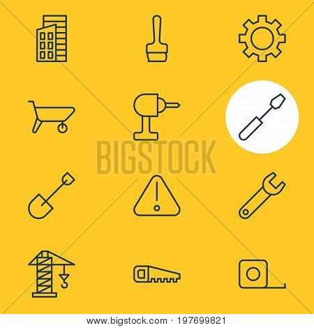 Editable Pack Of Apartment, Measure Tape, Turn Screw And Other Elements.  Vector Illustration Of 12 Industry Icons.