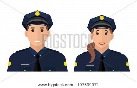 Police officer avatar illustration. Police man and police woman. Trendy policeman icon in flat style. Policeman and policewoman standing on white background in flat style
