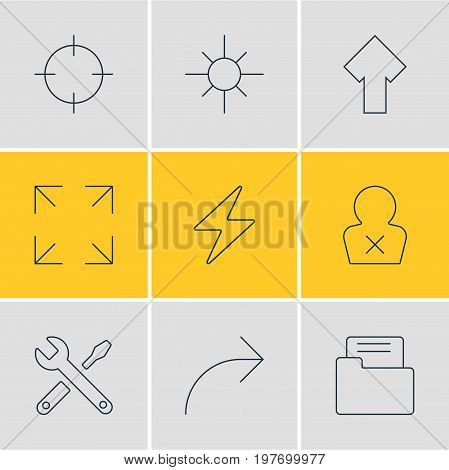 Editable Pack Of Wide Monitor, Upward, Banned Member And Other Elements.  Vector Illustration Of 9 Interface Icons.