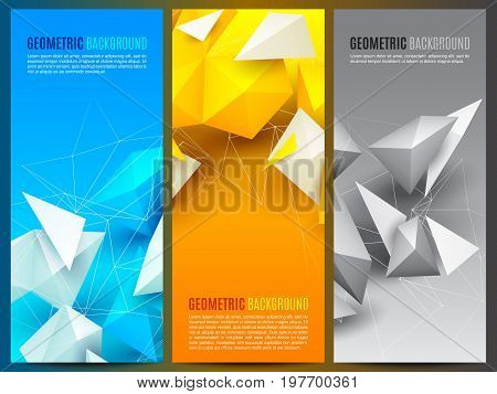 Abstract polygon 3d shapes and mesh grid on blue, yellow and grey background.