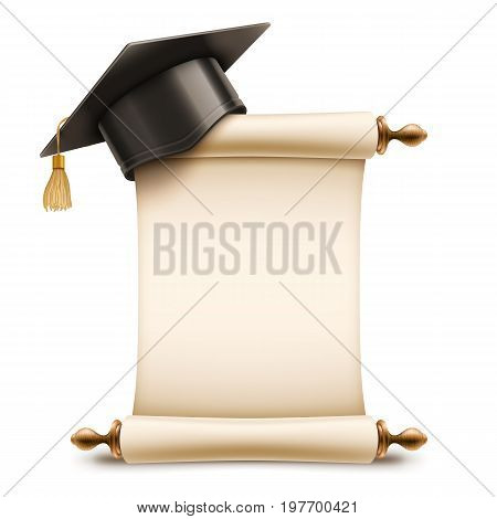 Graduation cap on corner of blank unrolled diploma scroll . Education icon isolated on white background