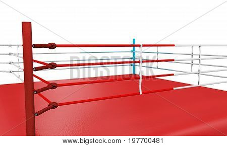 A 3D render of a modern boxing ring with opposing blue and red corners on an isolated white studio background