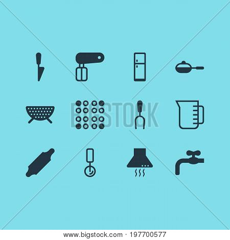 Editable Pack Of Kitchen Dagger, Refrigerator, Cooker And Other Elements.  Vector Illustration Of 12 Kitchenware Icons.