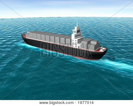 3D Cargo Ship In Ocean