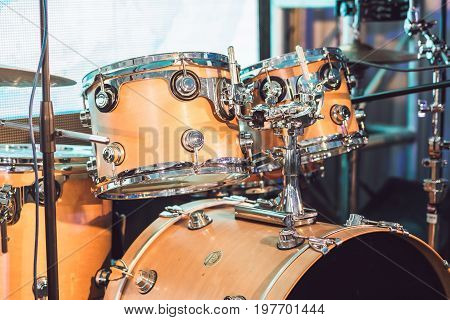 Drums Conceptual Image. Picture Of Drums And Drumsticks Lying On Snare Drum. Retro Vintage Picture