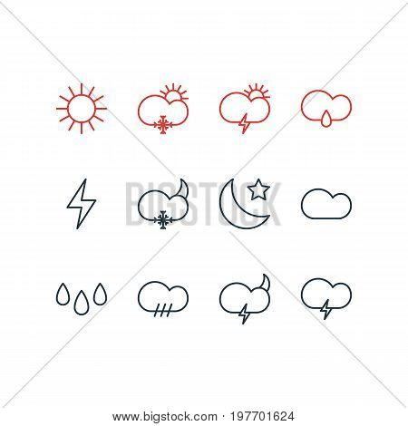 Editable Pack Of Sunlight, Sunny, Windstorm And Other Elements.  Vector Illustration Of 12 Atmosphere Icons.