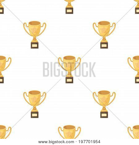 Gold Cup of the winner on a wooden stand with the inscription.The reward for first place.Awards and trophies single icon in cartoon style vector symbol stock web illustration.