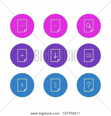 Editable Pack Of Munus, Upload, Search And Other Elements.  Vector Illustration Of 9 File Icons.
