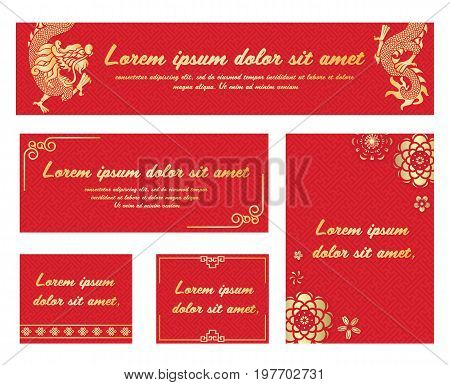 China Banner with gold dragon flower and china art frame on Red china pattern background vector set design
