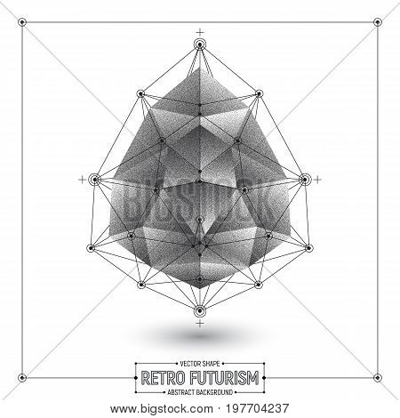 Vector Retro Futurism Abstract Polygonal 3D Shape Isolated on White Background. Conceptual Art Illustration
