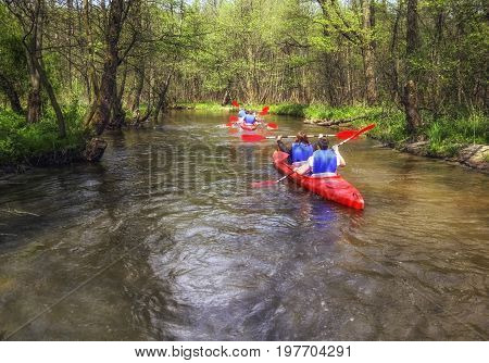 Zwierzyniec Poland - May 17 2017: Tourists kayaking on river in forest