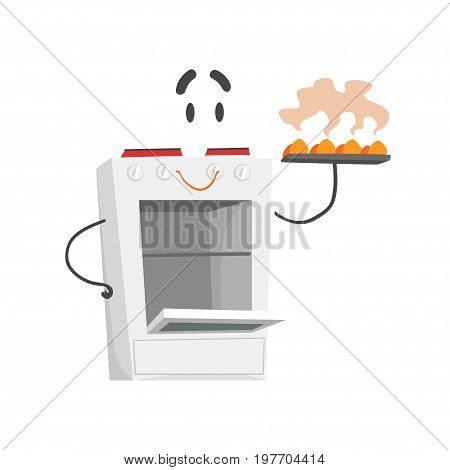 Funny electric cooker character with smiling face, humanized home electrical equipment vector Illustration on a white background