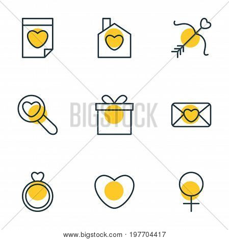 Editable Pack Of Home, Engagement, Magnifier And Other Elements.  Vector Illustration Of 9 Love Icons.
