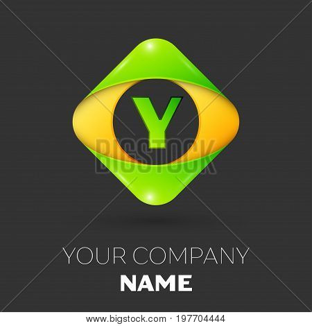 Realistic Letter Y vector logo symbol in the colorful rhombus on black background. Vector template for your design