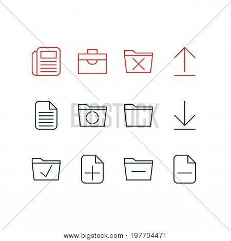 Editable Pack Of Approve, Blank, Deleting Folder And Other Elements.  Vector Illustration Of 12 Office Icons.