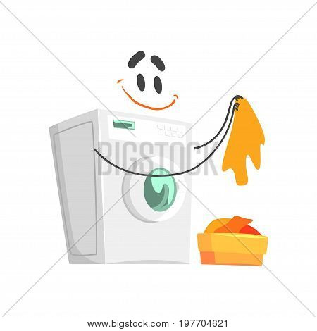 Funny washing machine character with smiling face, humanized home electrical equipment vector Illustration on a white background