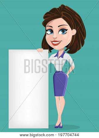 Beautiful business woman with blank placard. Businesswoman in formal wear. Cute cartoon character. Vector illustration.