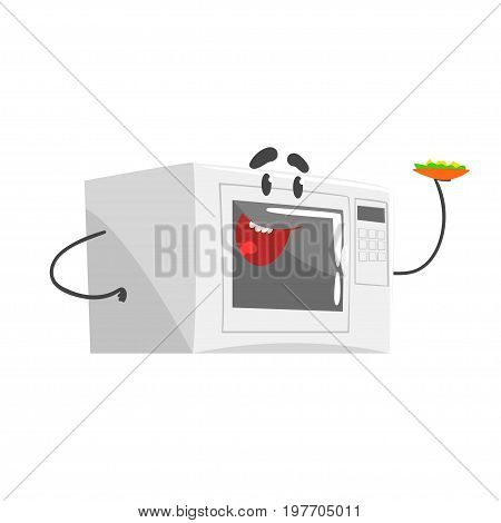 Funny microwave character with smiling face, humanized home electrical equipment vector Illustration on a white background