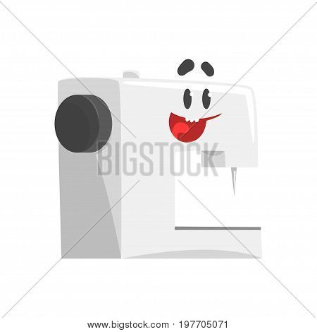 Funny sewing machine character with smiling face, humanized home electrical equipment vector Illustration on a white background