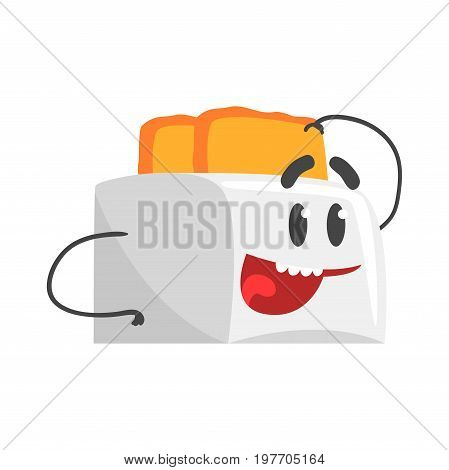 Funny toaster character with smiling face, humanized home electrical equipment vector Illustration on a white background