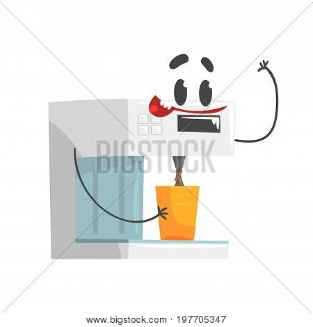 Funny coffee machine character with smiling face, humanized home electrical equipment vector Illustration on a white background