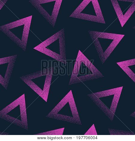 Vector Abstract Stippled Seamless Patterns. 80s and 90s Years Retro Style. Handmade Tileable Geometric Dotted Grunge Background. Wrapping Paper Design