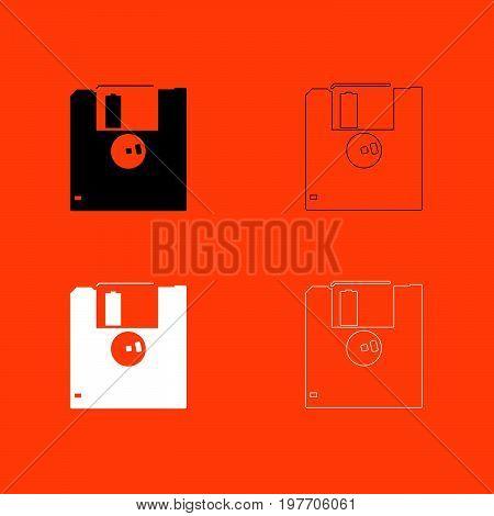 Floppy Disk Black And White Set Icon .