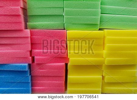 Full frame of various colorful sponge pads