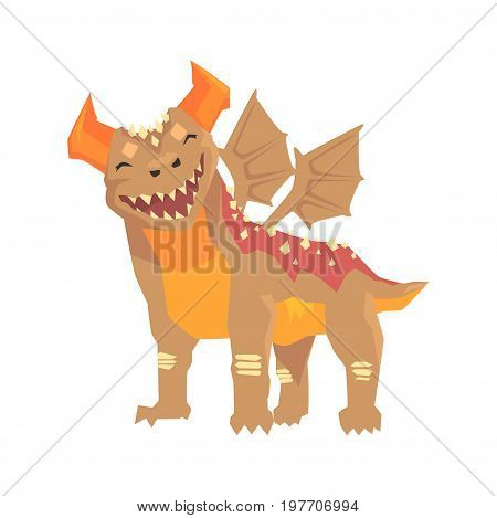 Horned dragon monster with wings, mythical and fantastic animal vector Illustration on a white background