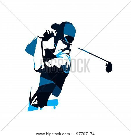 Golf player vector logo abstract blue silhouette