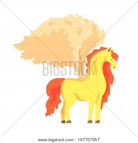 Beautiful pegasus winged horse, mythical and fantastic animal vector Illustration on a white background
