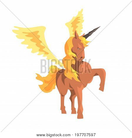 Magical unicorn winged horse, mythical and fantastic animal vector Illustration on a white background