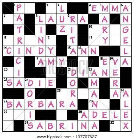 Popular girls names written in a crossword puzzle with pink ink.