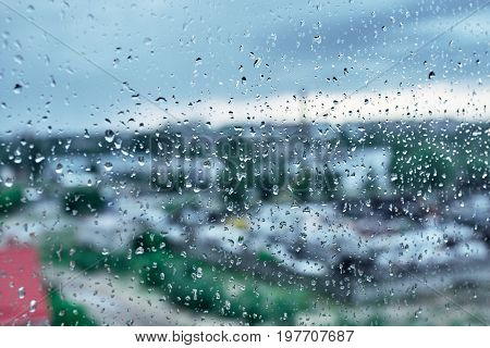 Textures Of Water Droplets Of Rain Flow Down The Windowpane. Natural Water Drop Background. Condensa
