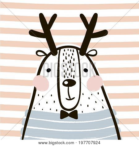 Cute cartoon dear in scandinavian style. Childish print for nursery kids apparelposter postcard. Vector Illustration