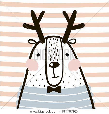 Cute cartoon dear in scandinavian style. Childish print for nursery kids apparelposter postcard. Vector Illustration