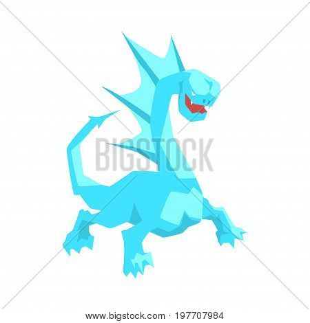 Turquoise dragon, mythical and fantastic animal vector Illustration on a white background