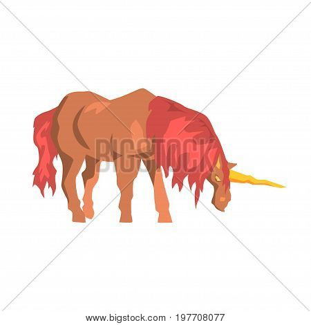 Brown unicorn horse with red mane, mythical and fantastic animal vector Illustration on a white background