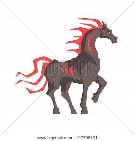 Mythical horse with a red mane vector Illustration on a white background