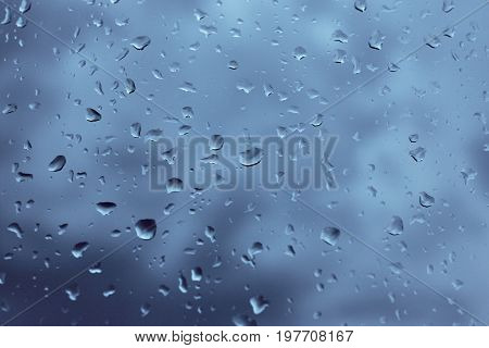 Natural Water Drop Background. Condensation, High Humidity , Large Drops Of Water, Cold Tone, Natura